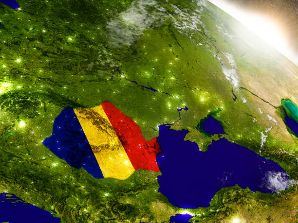 romania with flag in rising sun - romania stock photos and pictures