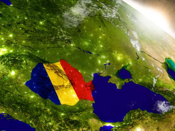 Rumania bandera en sol naciente - foto de stock