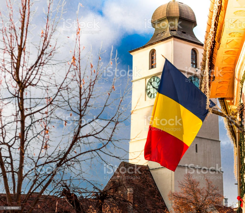 Romanian Flag And Traditional Architecture In Sibiu Transylvania Romania Stock Photo Download Image Now Istock