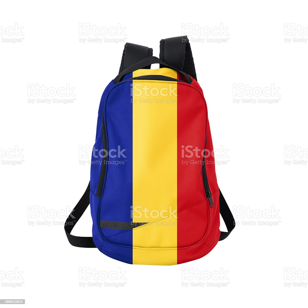 Romanian flag backpack isolated on white w/ path stock photo
