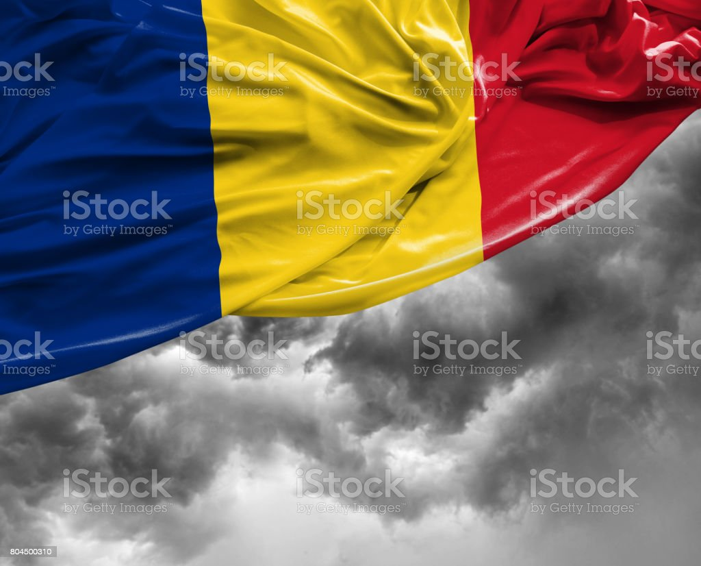 Romanian flag on a bad day stock photo