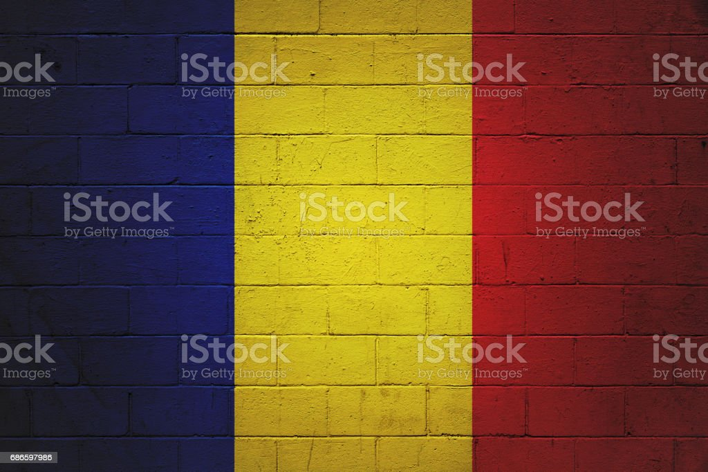 Romanian flag painted on a wall royalty-free stock photo