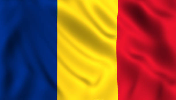 romanian flag waving in the wind romania - romania foto e immagini stock