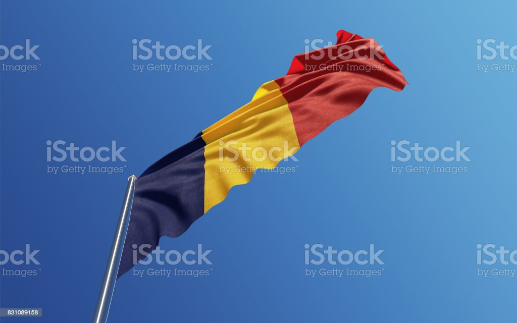 Romanian Flag Waving With Wind On Blue Sky stock photo