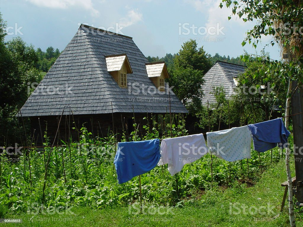 Romanian House with laundry royalty-free stock photo