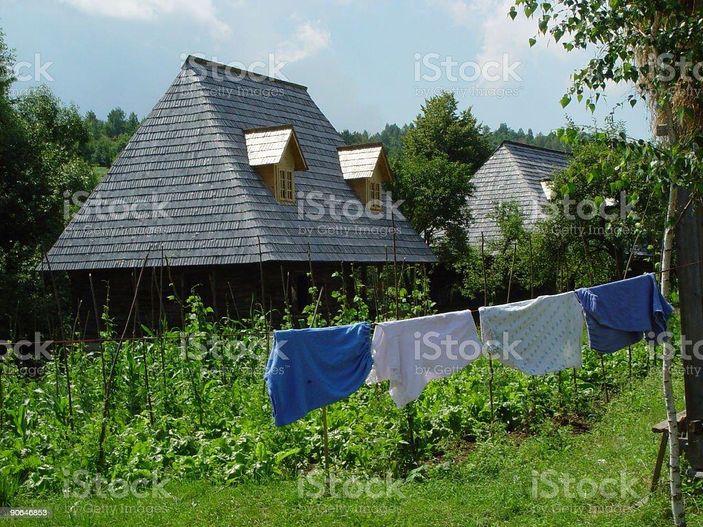 Romanian House with laundry stock photo
