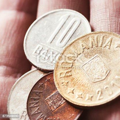 Romanian Leu Currency Closeup In Human Hand Palm With Multiple Bani