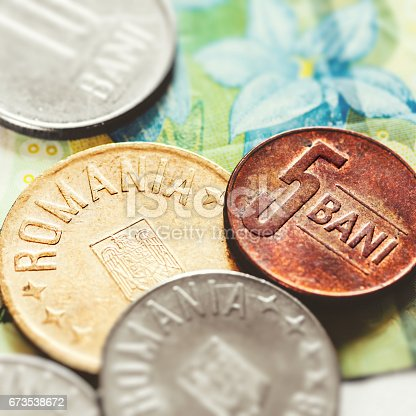 Romanian Leu Currency Closeup With One Leu Banknote And Multiple