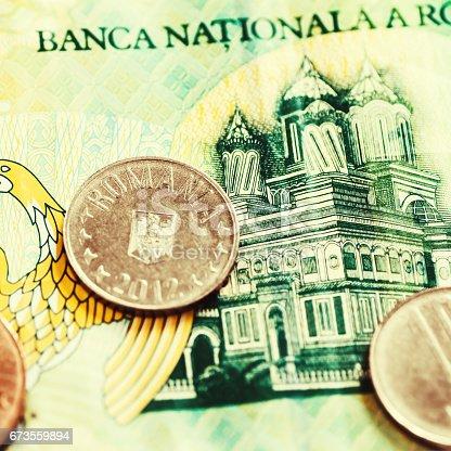 Romanian Leu Currency Closeup With One Leu Banknote Multiple Bani
