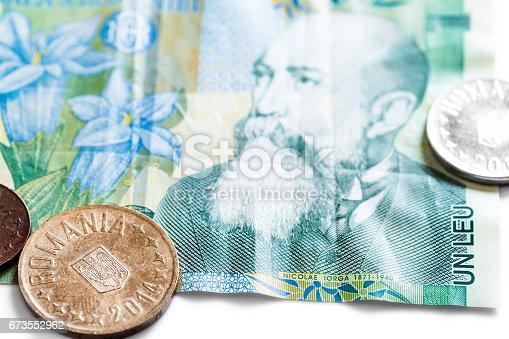 Romanian Leu Currency Closeup With One Leu Banknote Nicolae Iorga