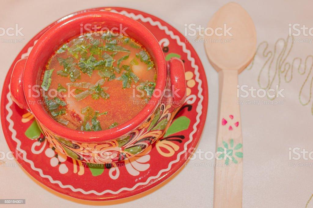 Rumänische Fleisch Suppe – Foto