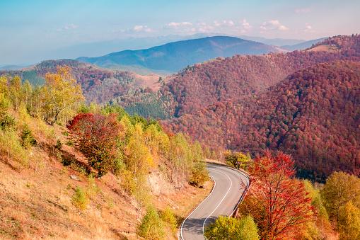 Romanian mountains in autumn season, Cindrel mountains, Paltinis area, Sibiu county, central Romania