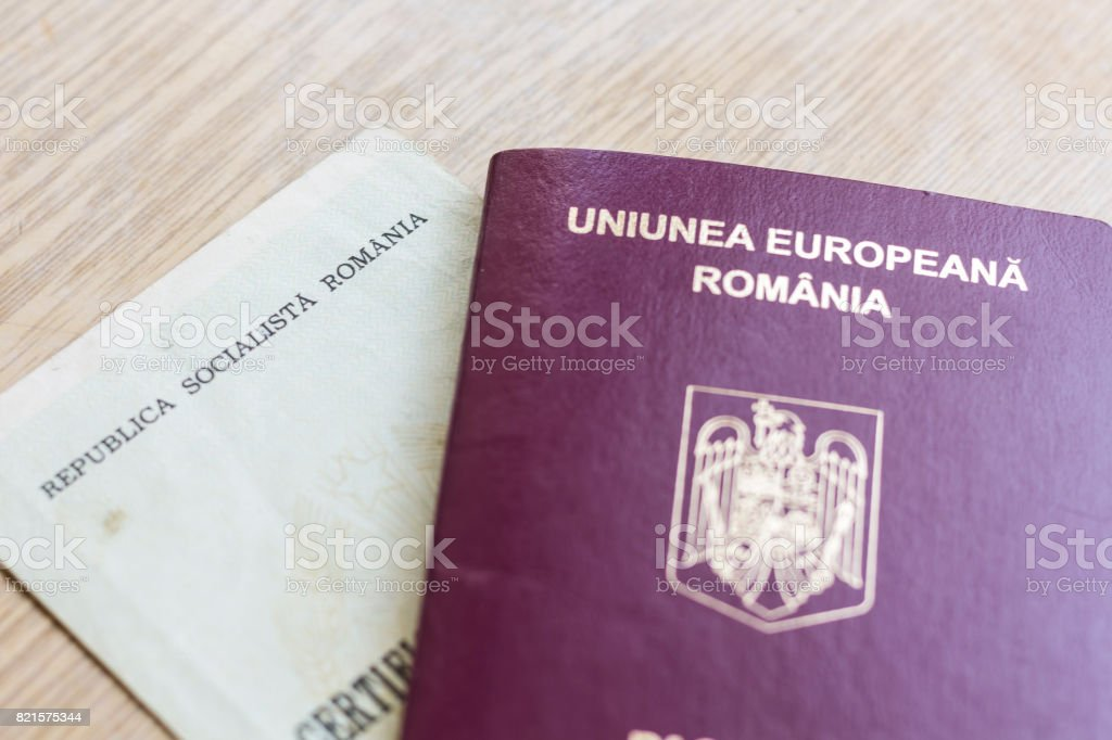 Romanian Passport And Old Birth Certificate Stock Photo & More ...