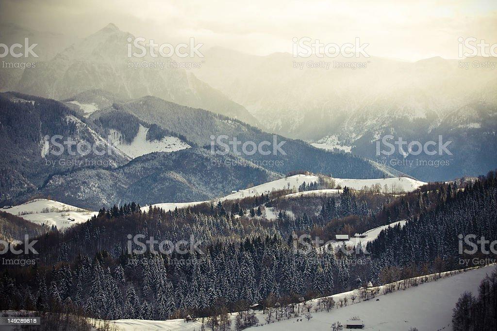 Romanian Piatra Craiului Mountains and foggy ridges royalty-free stock photo