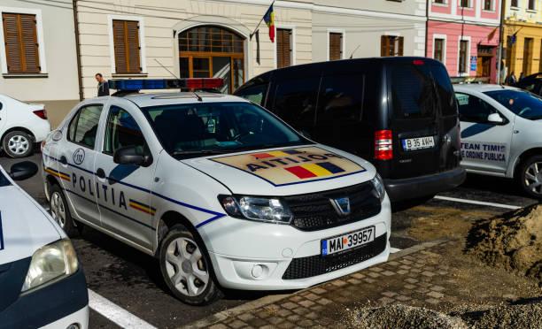 Rumänische Polizeiauto auf den Straßen von Bukarest. Bukarest, Rumänien, 2019. – Foto