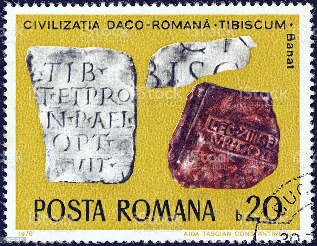 Romanian stamp shows  Inscribed Tablets, Tibiscum (Banat) (1976) royalty-free stock photo