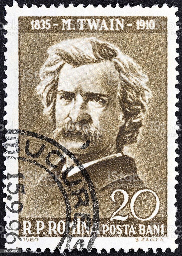 Romanian stamp shows writer Mark Twain (1960) stock photo