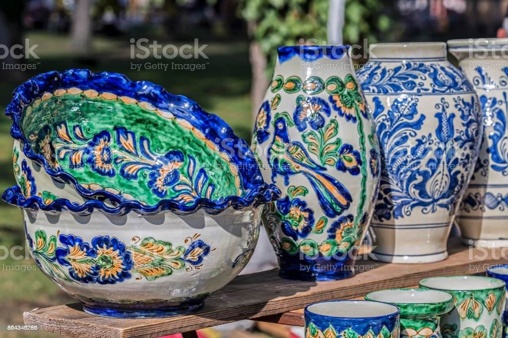 Romanian traditional ceramic for Corund, Transylvania area stock photo