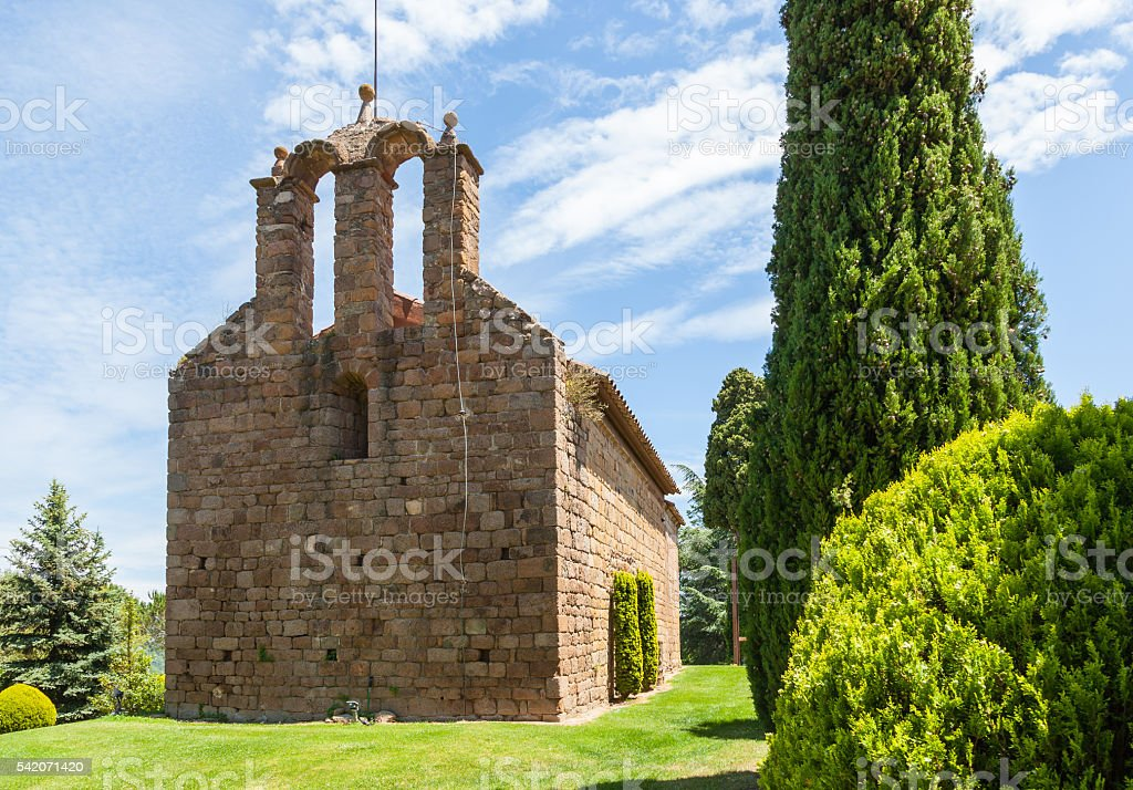 Romanic church Montseny stock photo
