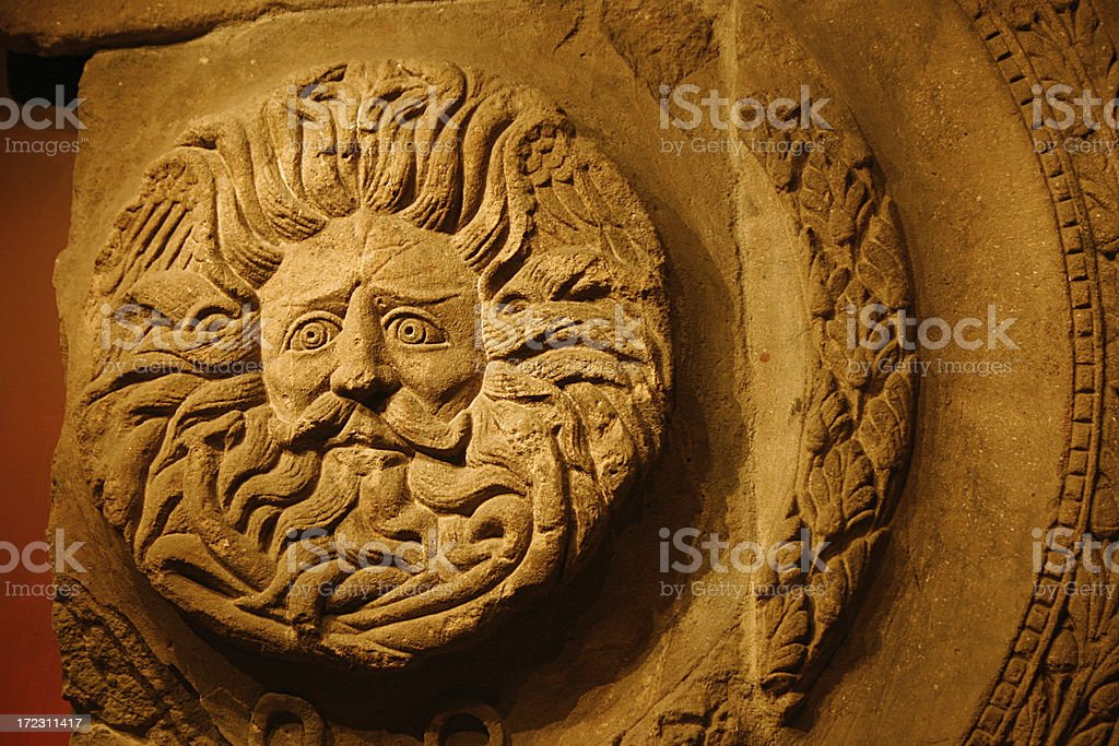 Romano-Celtic Gorgon's Head, Sun God, Roman Baths, Bath stock photo