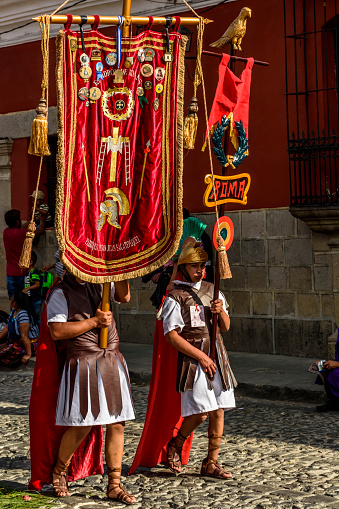 Romans Hold Banners In Lent Procession Antigua Guatemala