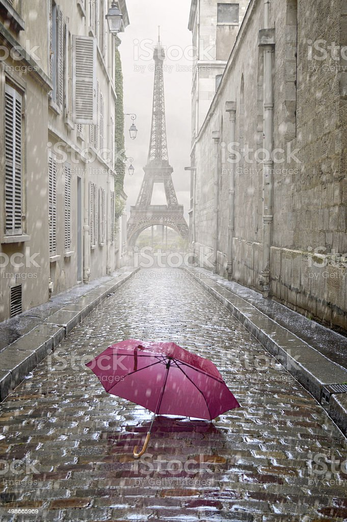 Romantic alley on a rainy day. royalty-free stock photo