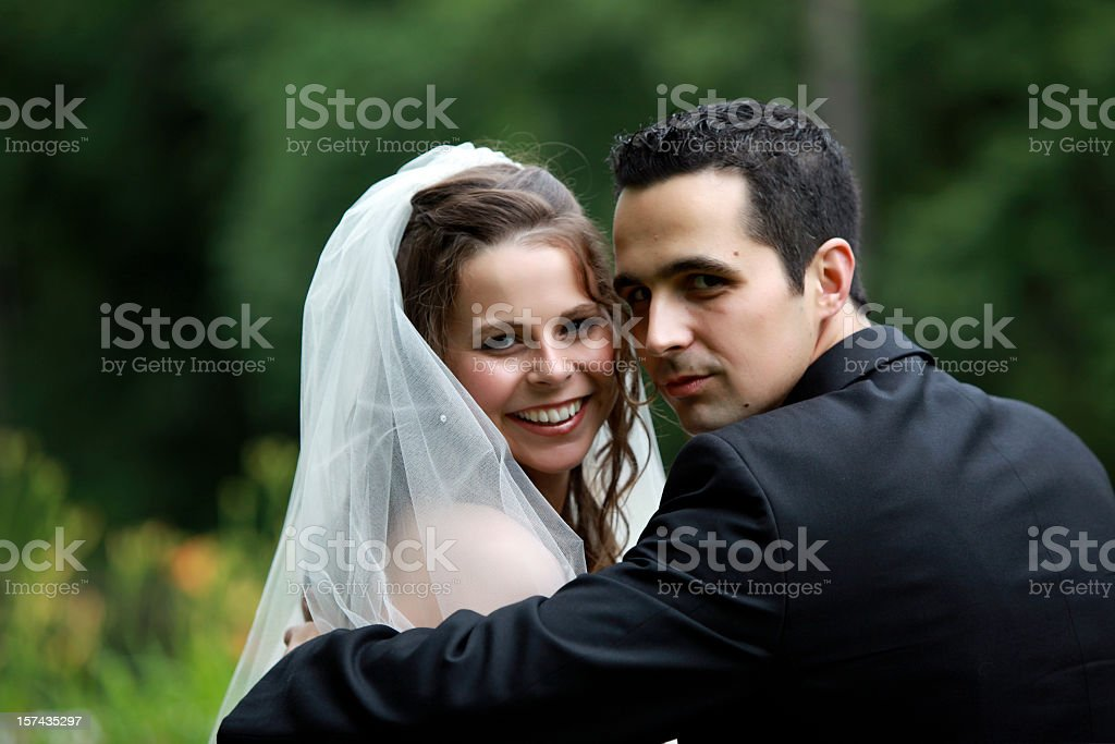 Romantic and attractive newly wed couple royalty-free stock photo