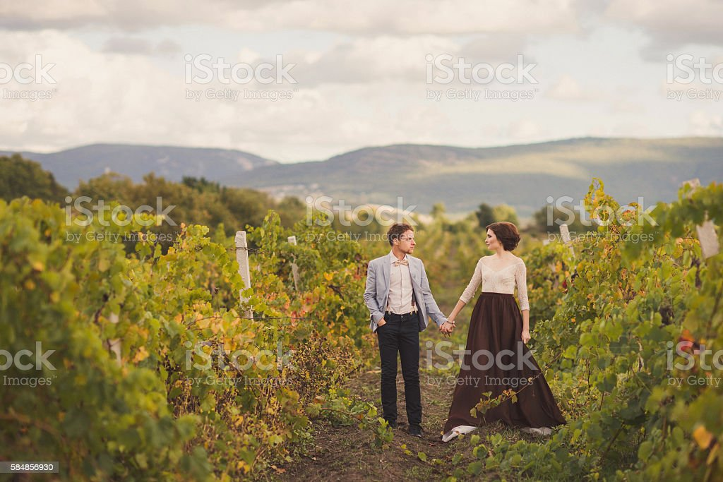 Romantic and stylish caucasian couple standing in the beautiful vineyard stock photo