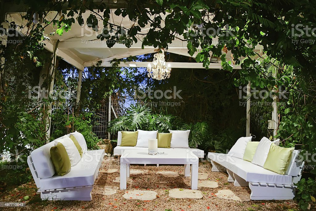 Romantic atmosphere, evening on the porch stock photo