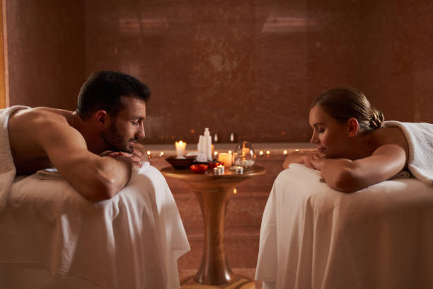 Romantic atmosphere in beauty salon after pleasant massage stock photo