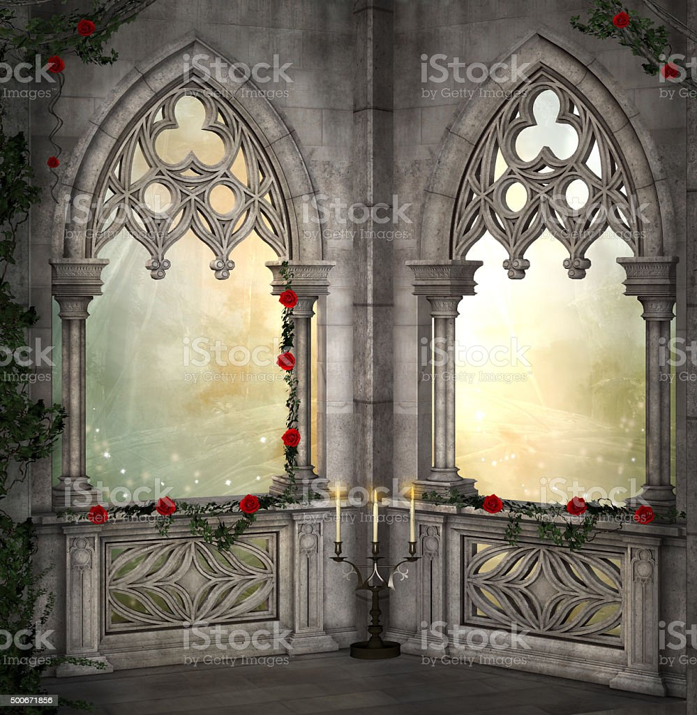 Romantic background with red roses stock photo