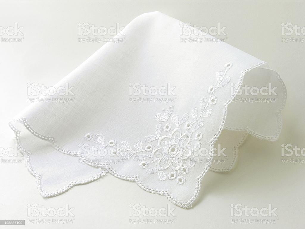 romantic batist white handkerchief stock photo