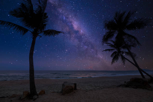 romantic beach and milky way with star. stock photo