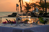 Romantic Beach Dinner by the Infinity Pool in Sunset Scenery, this lovely table was set in a luxury Maldivian Resort