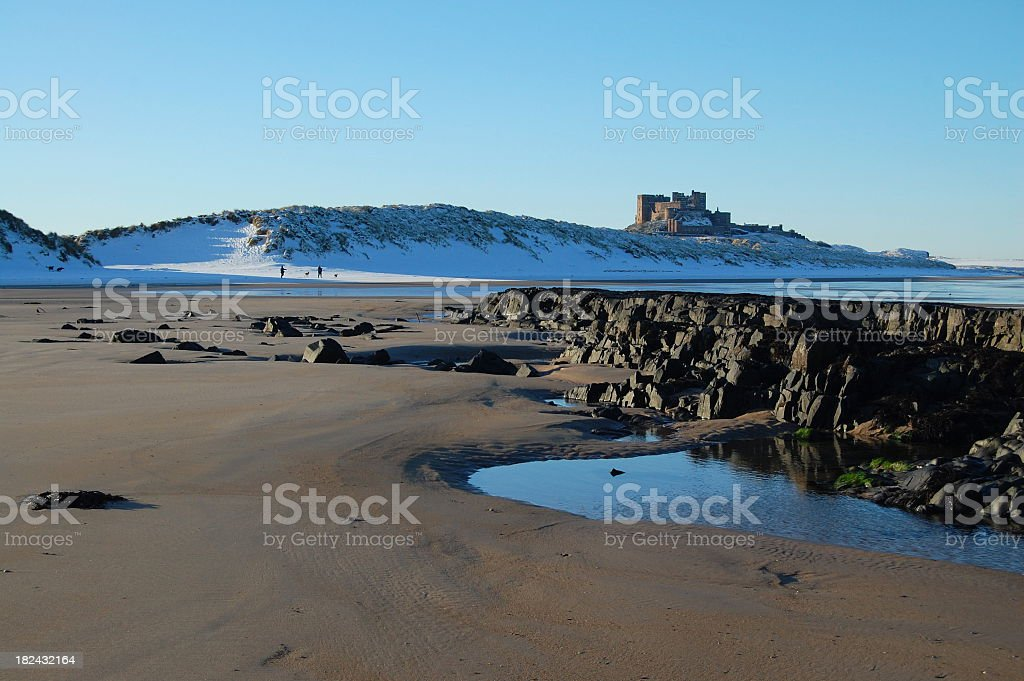 Romantic Beach Scene On Winter Holiday stock photo