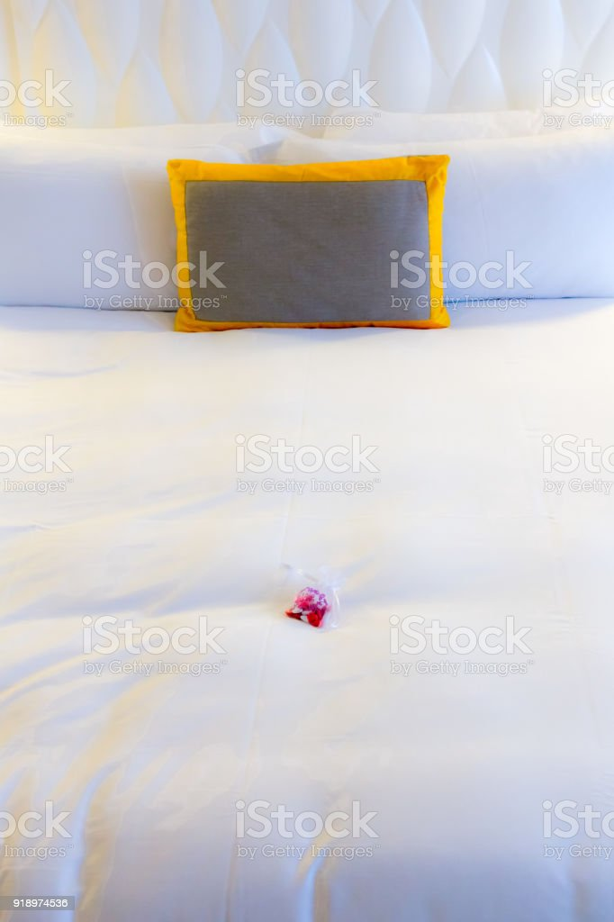 romantic bed for Valentine's Day stock photo