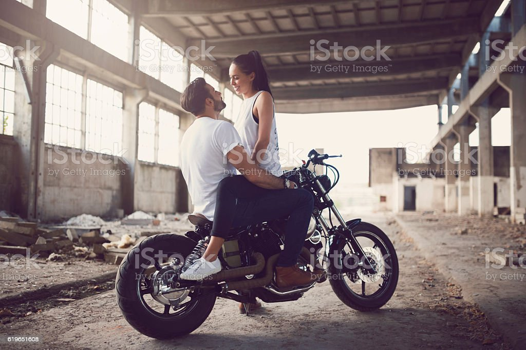 Romantic Bikers stock photo