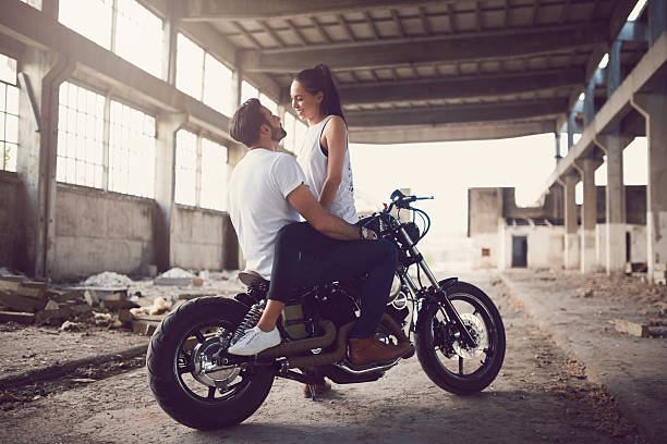 romantic bikers - couple lap stock photos and pictures