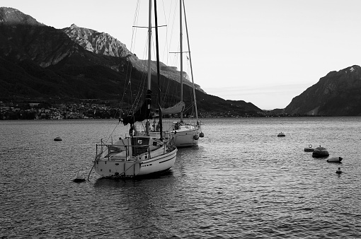istock Romantic black and white photo of Lake Como 1217171840