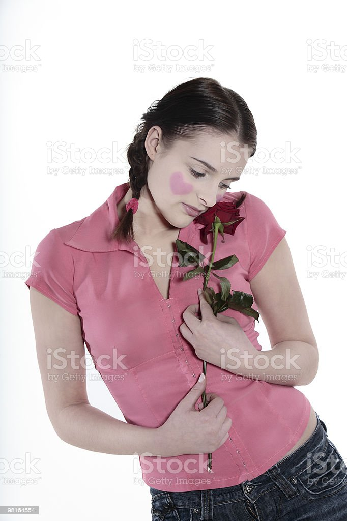 romantic blushing heart girl royalty-free stock photo