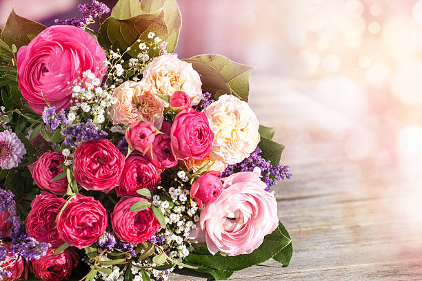 Romantic bouquet with pink roses stock photo