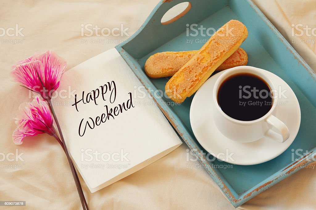Romantic breakfast in the bed stock photo