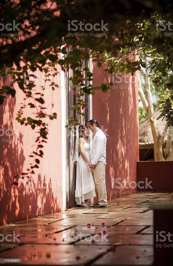 Romantic bride and groom royalty-free stock photo