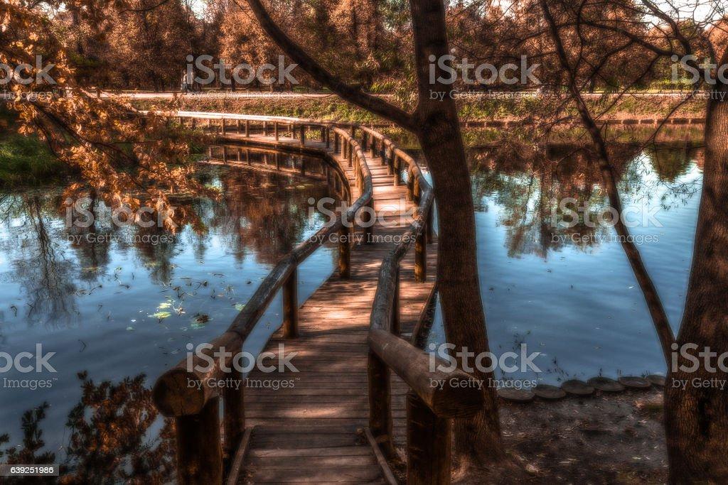 romantic bridge for kisses stock photo