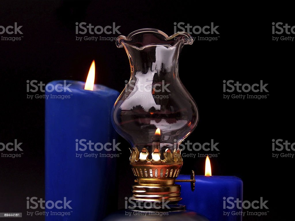 romantic candle light and oil lamp royalty-free stock photo