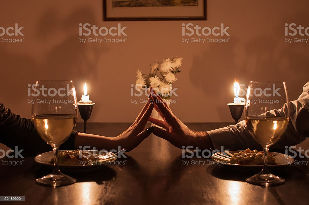 Romantic candle light dinner stock photo
