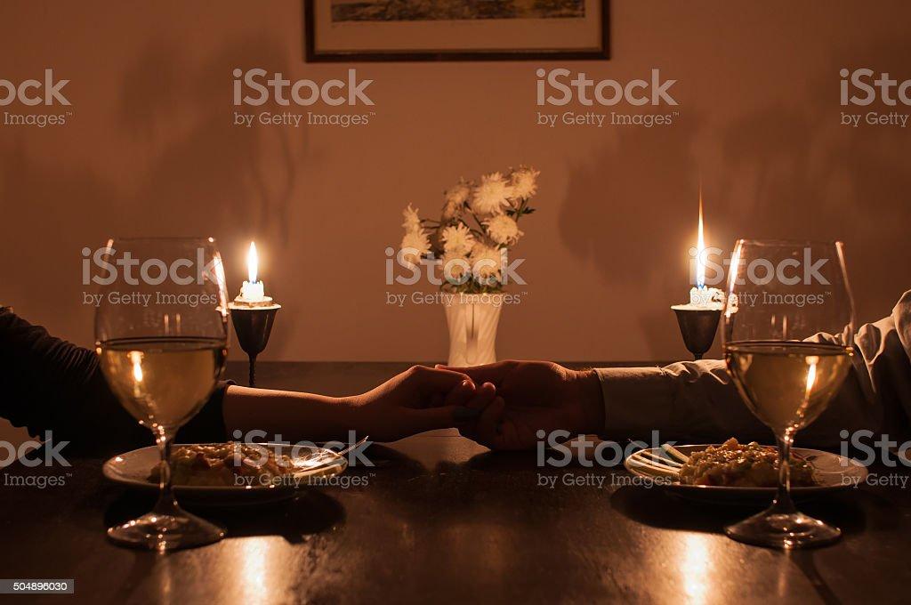 Romantic candle light dinner stock photo