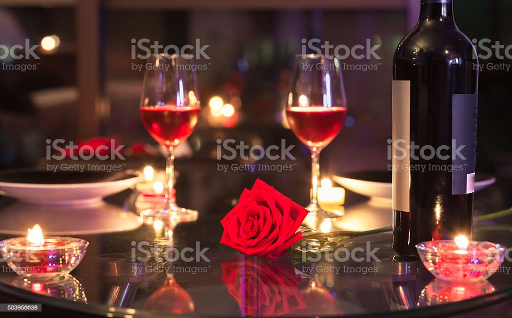 Romantic candlelight dinner stock photo