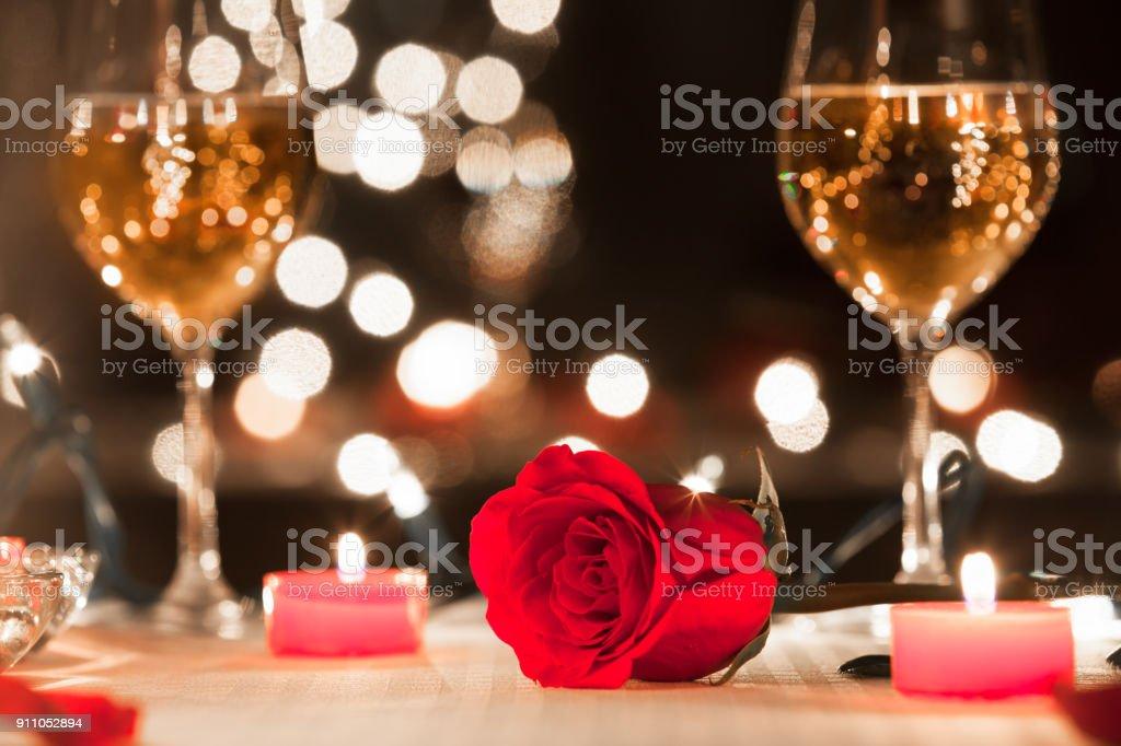 Romantic candlelight dinner stock photo