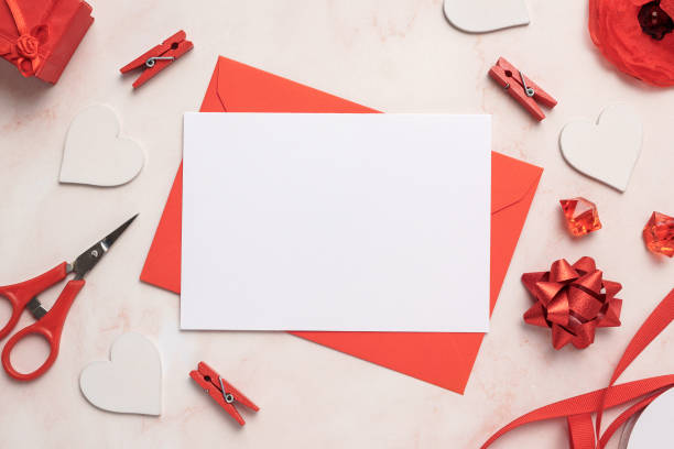 Romantic Card with Envelope Mockup Blank stock photo